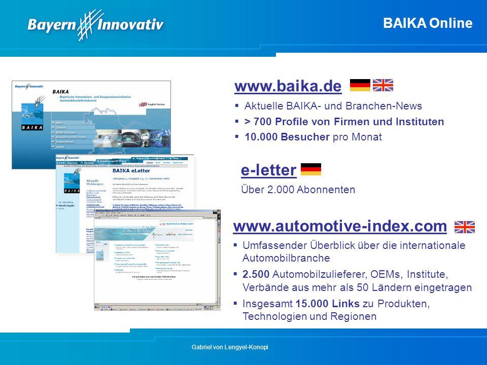 Gabriel von Lengyel-Konopi BAIKA Online www.baika.de  Aktuelle BAIKA- und Branchen-News  > 700 Profile von Firmen und Instituten  10.000 Besucher p