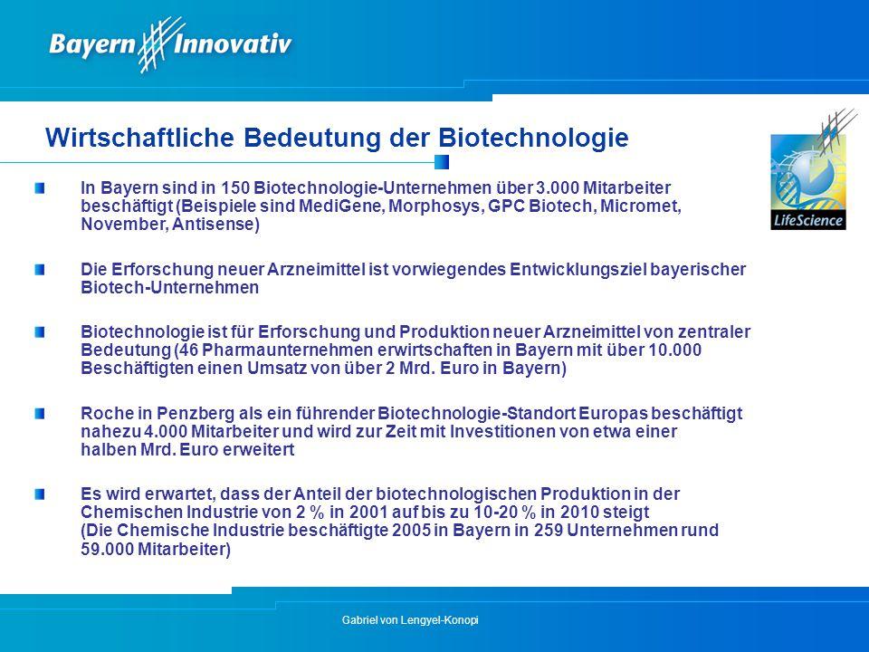 Gabriel von Lengyel-Konopi Wirtschaftliche Bedeutung der Biotechnologie In Bayern sind in 150 Biotechnologie-Unternehmen über 3.000 Mitarbeiter beschä