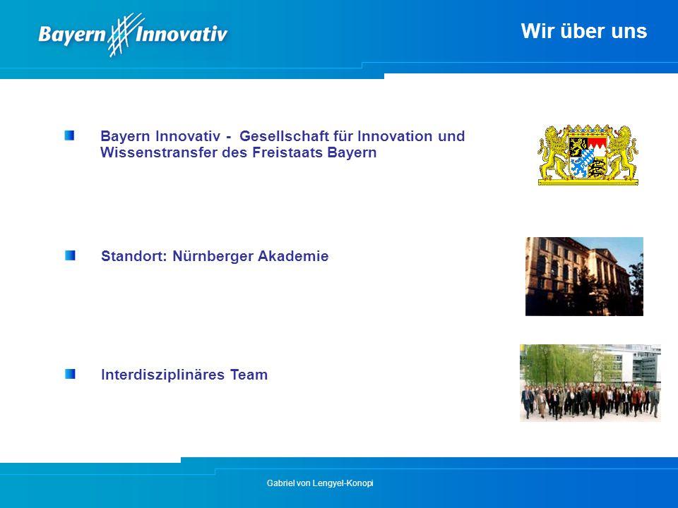 Gabriel von Lengyel-Konopi Wir über uns Bayern Innovativ - Gesellschaft für Innovation und Wissenstransfer des Freistaats Bayern Standort: Nürnberger