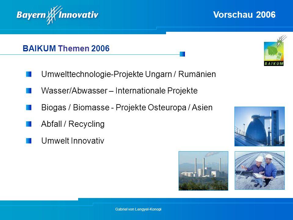 Gabriel von Lengyel-Konopi Umwelttechnologie-Projekte Ungarn / Rumänien Wasser/Abwasser – Internationale Projekte Biogas / Biomasse - Projekte Osteuro