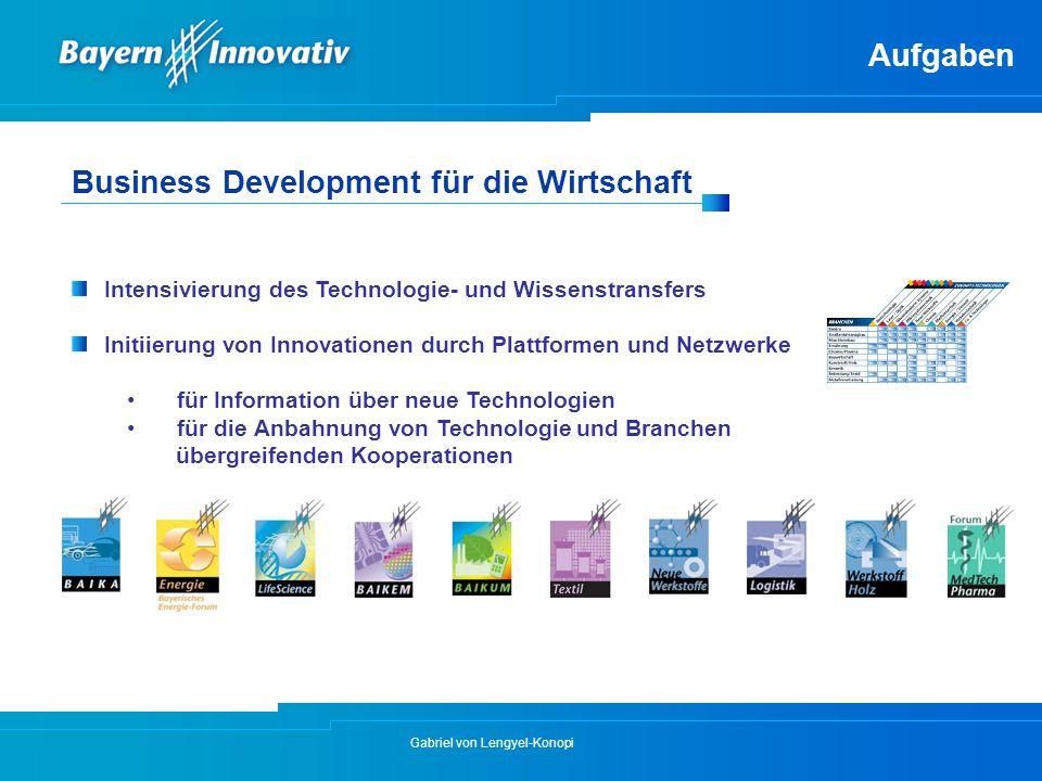 Gabriel von Lengyel-Konopi Intensivierung des Technologie- und Wissenstransfers Initiierung von Innovationen durch Plattformen und Netzwerke für Infor
