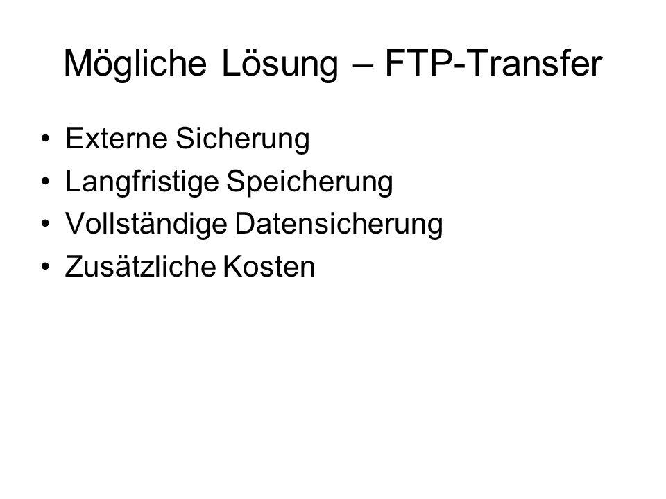 Mögliche Lösung – FTP-Transfer Externe Sicherung Langfristige Speicherung Vollständige Datensicherung Zusätzliche Kosten