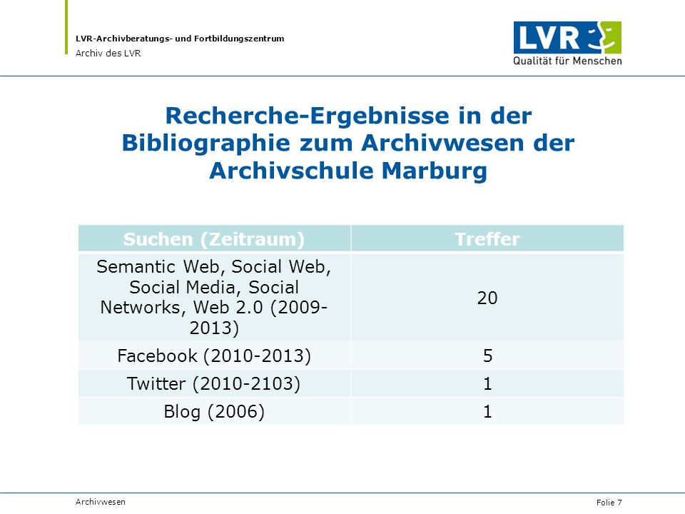 LVR-Archivberatungs- und Fortbildungszentrum Archiv des LVR Recherche-Ergebnisse in der Bibliographie zum Archivwesen der Archivschule Marburg Suchen