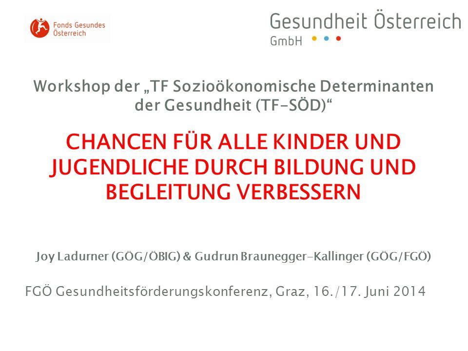 """Workshop der """"TF Sozioökonomische Determinanten der Gesundheit (TF-SÖD)"""" CHANCEN FÜR ALLE KINDER UND JUGENDLICHE DURCH BILDUNG UND BEGLEITUNG VERBESSE"""