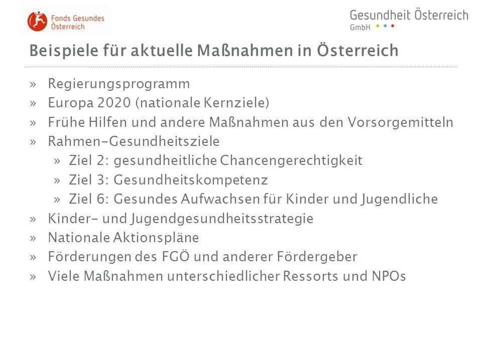 Beispiele für aktuelle Maßnahmen in Österreich »Regierungsprogramm »Europa 2020 (nationale Kernziele) »Frühe Hilfen und andere Maßnahmen aus den Vorso
