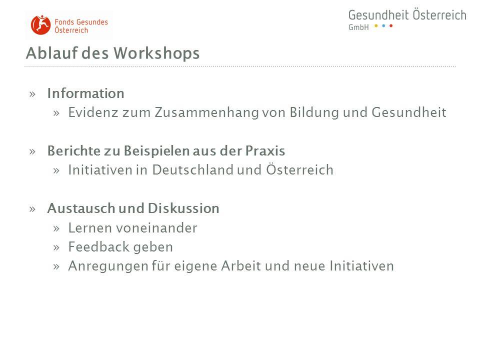 Ablauf des Workshops »Information »Evidenz zum Zusammenhang von Bildung und Gesundheit »Berichte zu Beispielen aus der Praxis »Initiativen in Deutschl