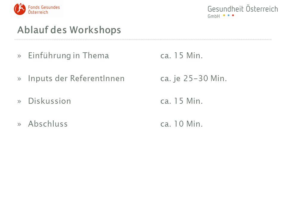 Ablauf des Workshops »Einführung in Thema ca. 15 Min. »Inputs der ReferentInnenca. je 25-30 Min. »Diskussionca. 15 Min. »Abschlussca. 10 Min.