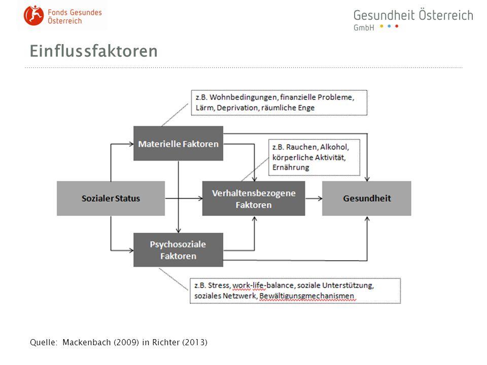 Einflussfaktoren Quelle: Mackenbach (2009) in Richter (2013)
