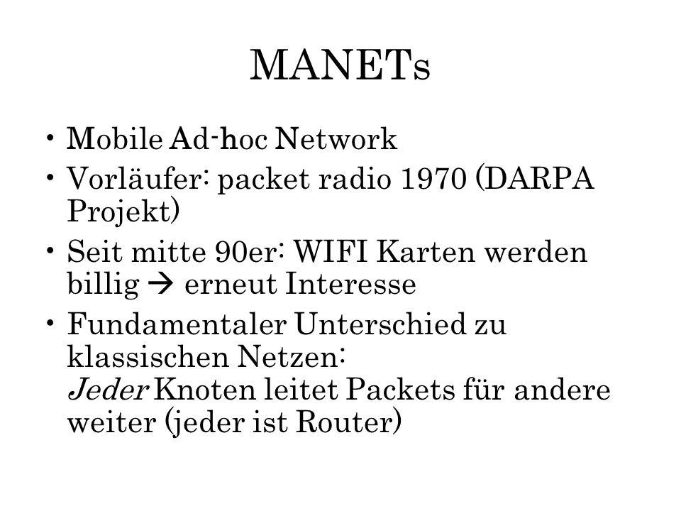 MANETs Mobile Ad-hoc Network Vorläufer: packet radio 1970 (DARPA Projekt) Seit mitte 90er: WIFI Karten werden billig  erneut Interesse Fundamentaler