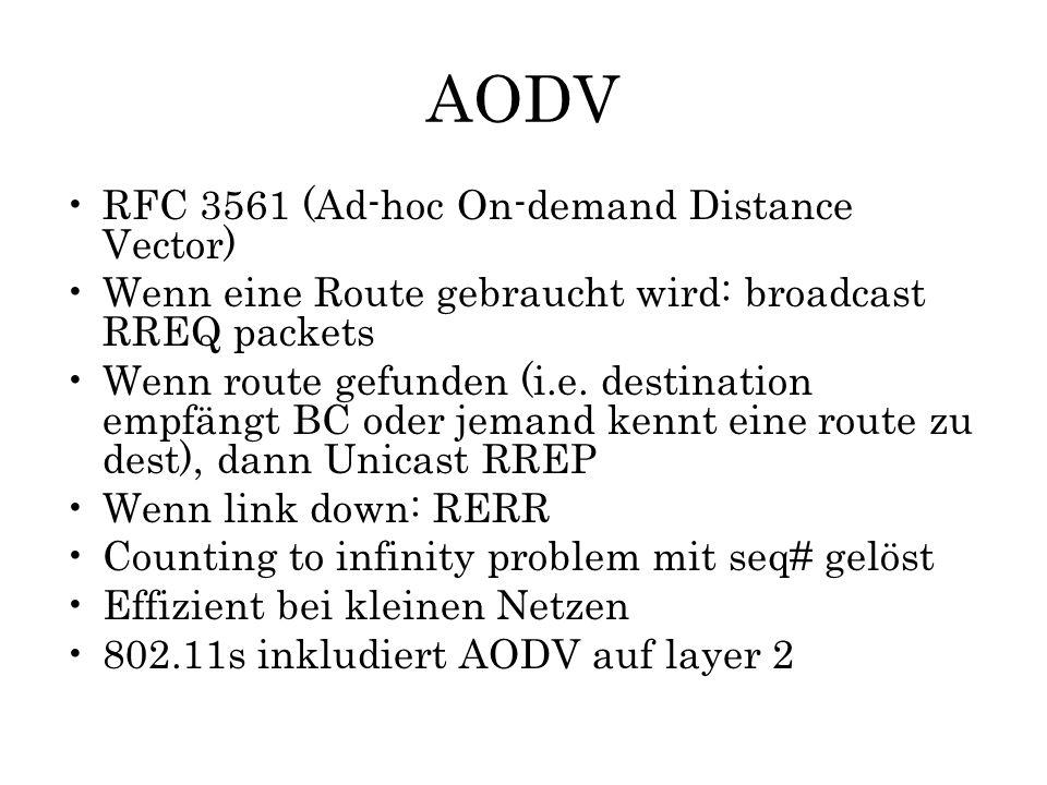 AODV RFC 3561 (Ad-hoc On-demand Distance Vector) Wenn eine Route gebraucht wird: broadcast RREQ packets Wenn route gefunden (i.e. destination empfängt
