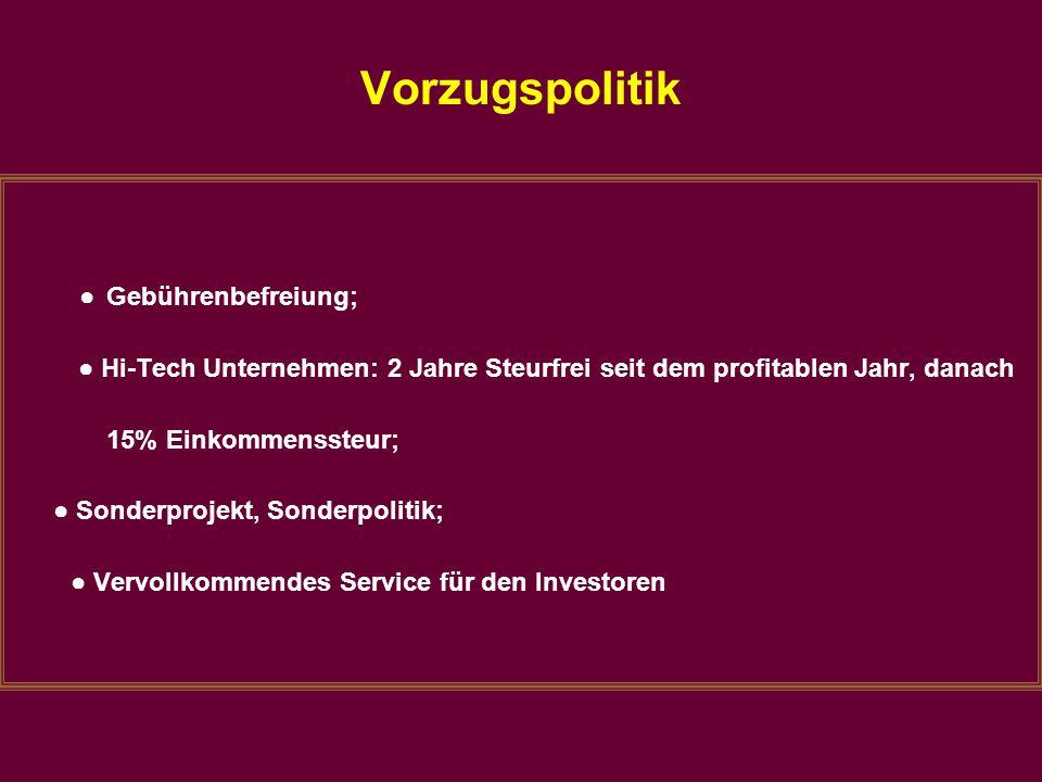 Vorzugspolitik ● Gebührenbefreiung; ● Hi-Tech Unternehmen: 2 Jahre Steurfrei seit dem profitablen Jahr, danach 15% Einkommenssteur; ● Sonderprojekt, S