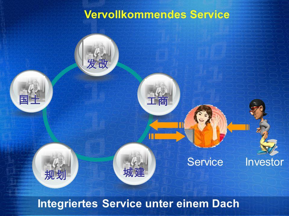 Service Integriertes Service unter einem Dach 工商 发改 国土 规划 城建 Investor Vervollkommendes Service