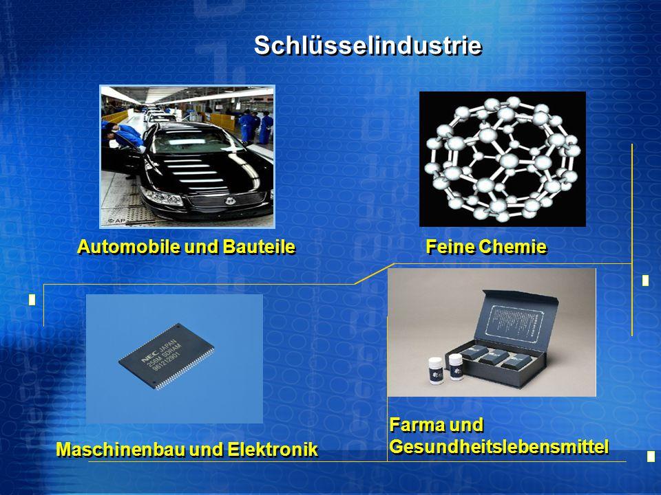 Automobile und Bauteile Maschinenbau und Elektronik Feine Chemie Farma und Gesundheitslebensmittel Schlüsselindustrie Schlüsselindustrie