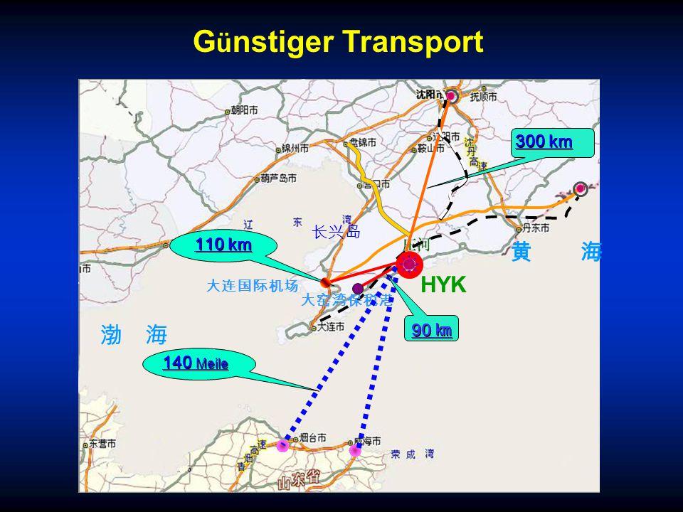 渤 海 黄 海 大窑湾保税港 110 km 300 km 大连国际机场 HYK 90 ㎞ 140 Meile G ü nstiger Transport