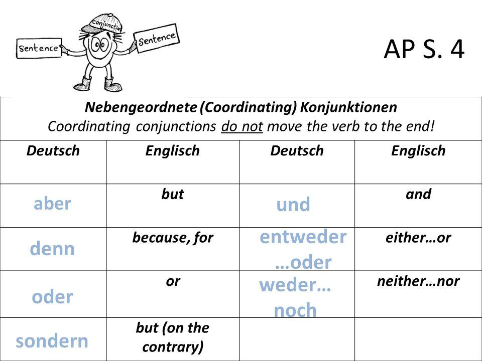 Nebengeordnete (Coordinating) Konjunktionen Coordinating conjunctions do not move the verb to the end! DeutschEnglischDeutschEnglisch butand because,