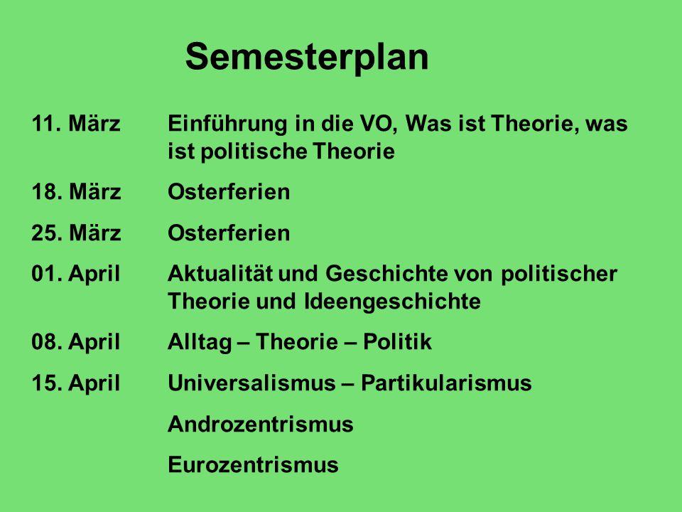Semesterplan 11. MärzEinführung in die VO, Was ist Theorie, was ist politische Theorie 18.