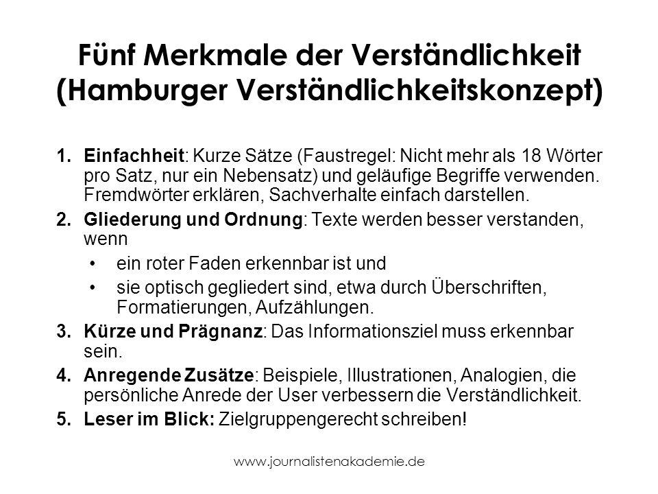 www.journalistenakademie.de Fünf Merkmale der Verständlichkeit (Hamburger Verständlichkeitskonzept) 1.Einfachheit: Kurze Sätze (Faustregel: Nicht mehr