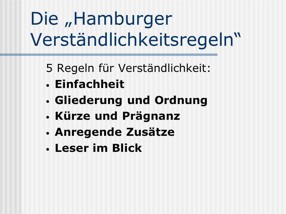 """Die """"Hamburger Verständlichkeitsregeln"""" 5 Regeln für Verständlichkeit: Einfachheit Gliederung und Ordnung Kürze und Prägnanz Anregende Zusätze Leser i"""