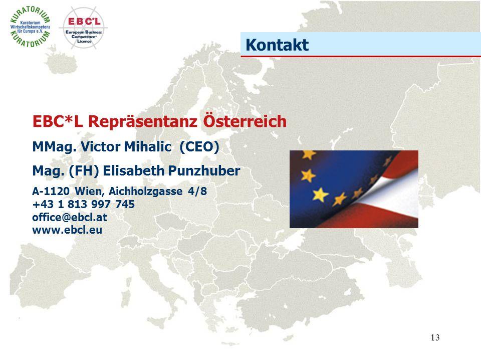 13 EBC*L Repräsentanz Österreich MMag. Victor Mihalic (CEO) Mag. (FH) Elisabeth Punzhuber A-1120 Wien, Aichholzgasse 4/8 +43 1 813 997 745 office@ebcl