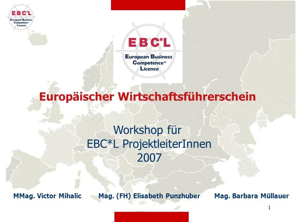 22 EBC*L Stufe B - Projektplan Ab April 2007: erste Prüfungen möglich Ab September:Regelbetrieb Bis Ende Juni:Pilotphase Juni – September:gemachte Erfahrungen werden berücksichtigt