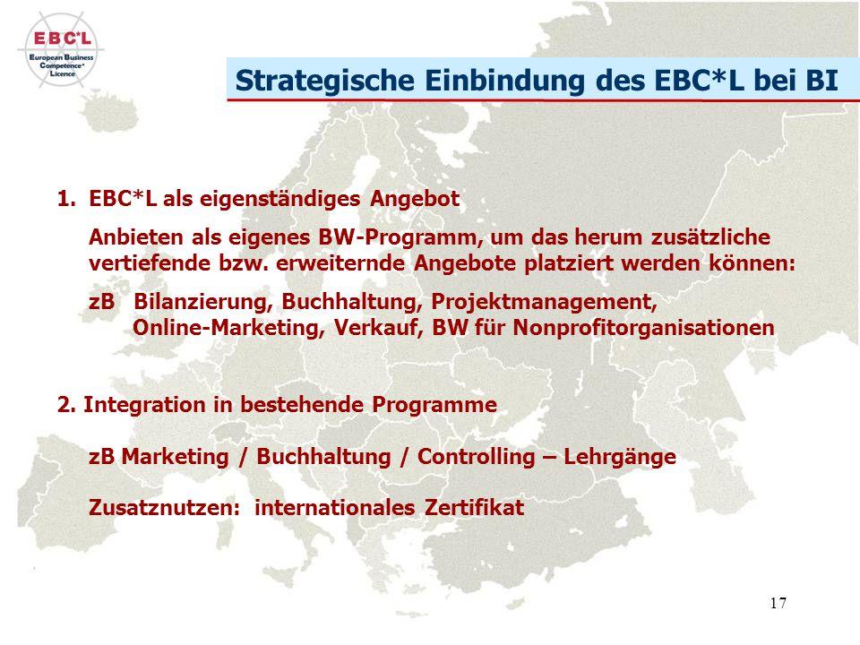 17 Strategische Einbindung des EBC*L bei BI 1.EBC*L als eigenständiges Angebot Anbieten als eigenes BW-Programm, um das herum zusätzliche vertiefende bzw.
