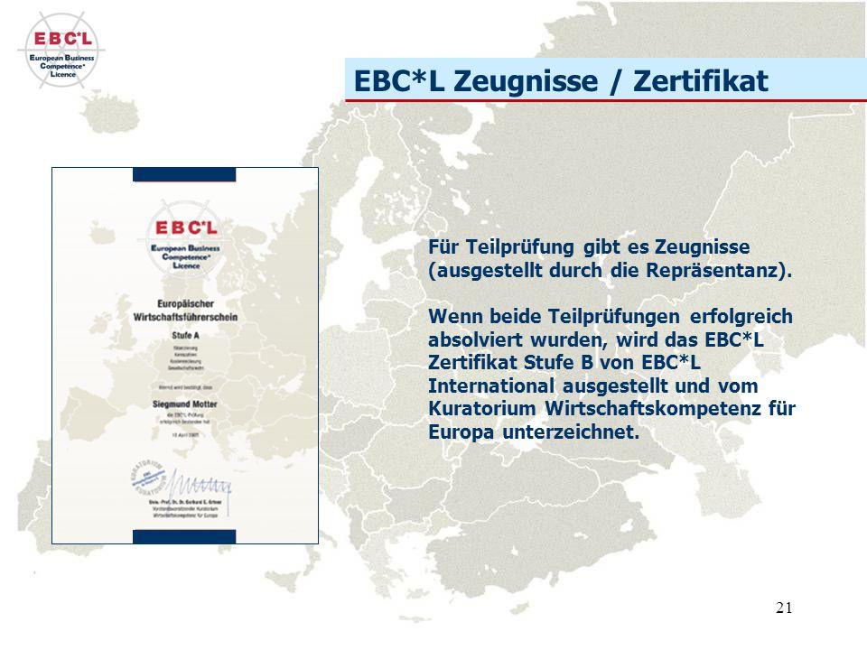 21 EBC*L Zeugnisse / Zertifikat Für Teilprüfung gibt es Zeugnisse (ausgestellt durch die Repräsentanz).