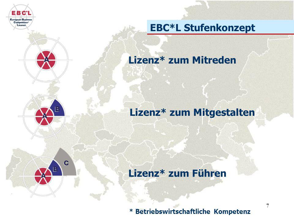 7 EBC*L Stufenkonzept Lizenz* zum Mitreden Lizenz* zum Mitgestalten Lizenz* zum Führen * Betriebswirtschaftliche Kompetenz