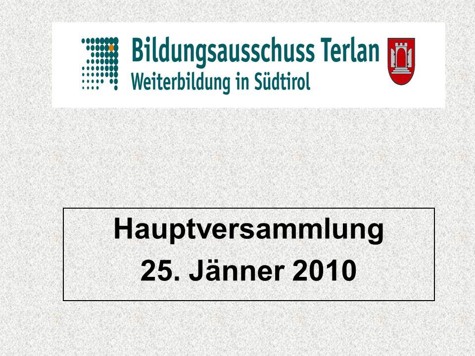 Hauptversammlung 25. Jänner 2010