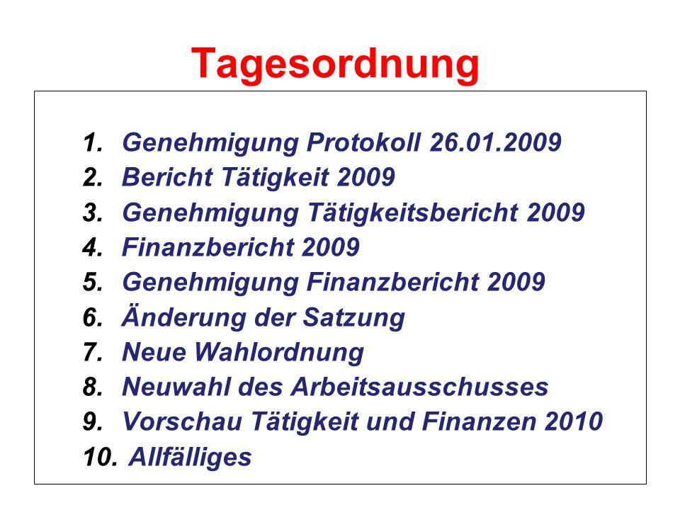 Tagesordnung 1.Genehmigung Protokoll 26.01.2009 2.Bericht Tätigkeit 2009 3.Genehmigung Tätigkeitsbericht 2009 4.Finanzbericht 2009 5.Genehmigung Finan