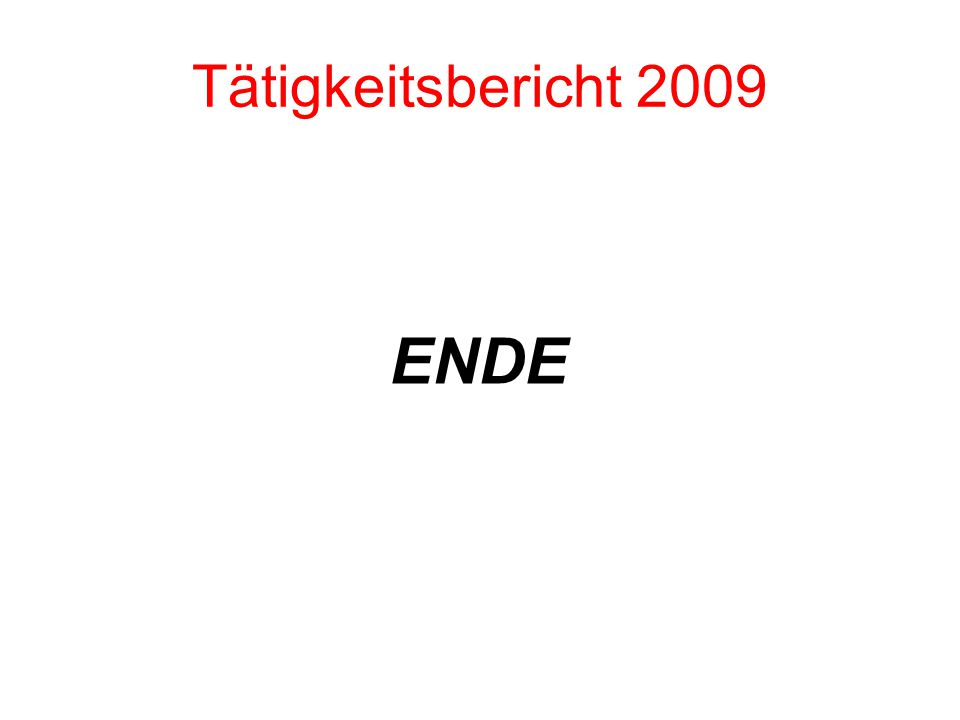 Tätigkeitsbericht 2009 ENDE
