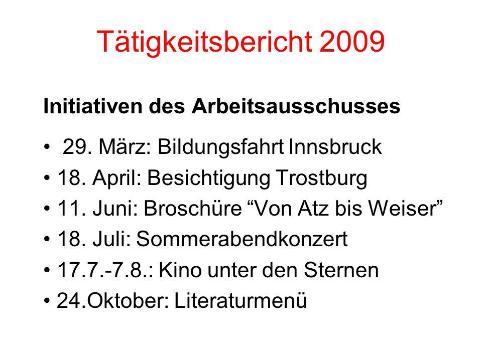 Tätigkeitsbericht 2009 Initiativen des Arbeitsausschusses 29.