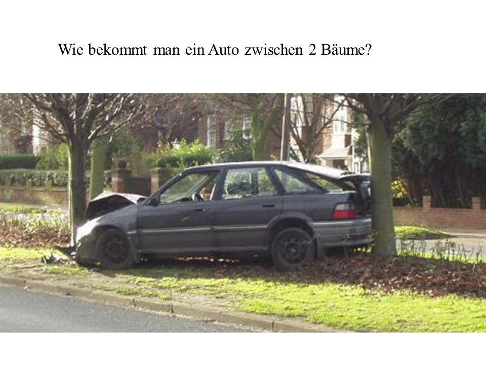 Wie bekommt man ein Auto zwischen 2 Bäume
