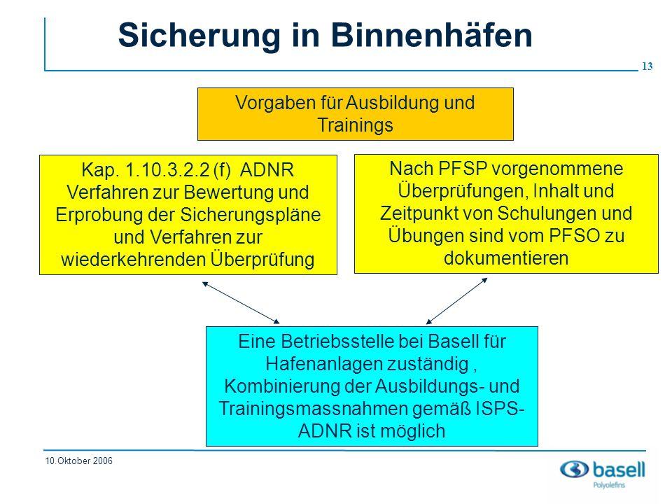 13 10.Oktober 2006 Sicherung in Binnenhäfen Kap. 1.10.3.2.2 (f) ADNR Verfahren zur Bewertung und Erprobung der Sicherungspläne und Verfahren zur wiede