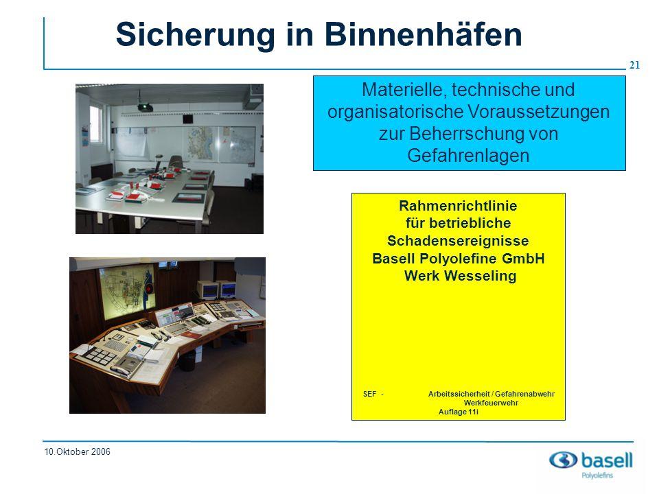 21 10.Oktober 2006 Sicherung in Binnenhäfen Rahmenrichtlinie für betriebliche Schadensereignisse Basell Polyolefine GmbH Werk Wesseling SEF -Arbeitssi
