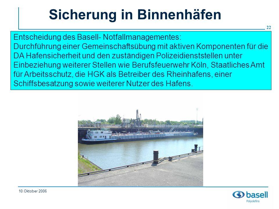 22 10.Oktober 2006 Sicherung in Binnenhäfen Entscheidung des Basell- Notfallmanagementes: Durchführung einer Gemeinschaftsübung mit aktiven Komponente