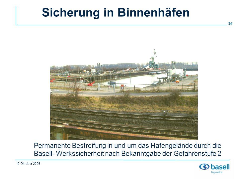 26 10.Oktober 2006 Sicherung in Binnenhäfen Permanente Bestreifung in und um das Hafengelände durch die Basell- Werkssicherheit nach Bekanntgabe der G