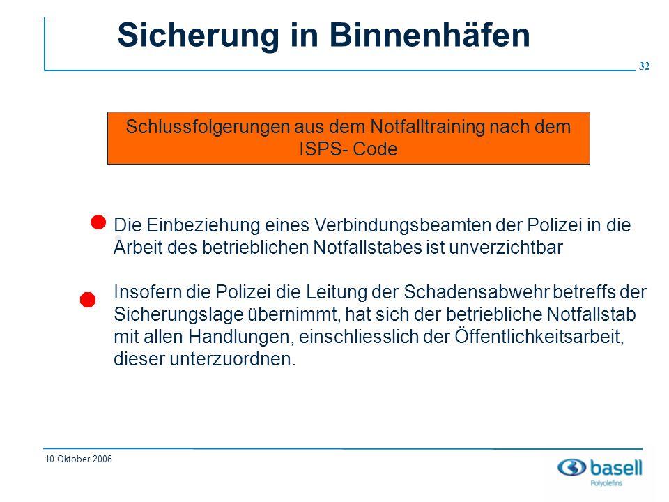 32 10.Oktober 2006 Sicherung in Binnenhäfen Schlussfolgerungen aus dem Notfalltraining nach dem ISPS- Code Die Einbeziehung eines Verbindungsbeamten d