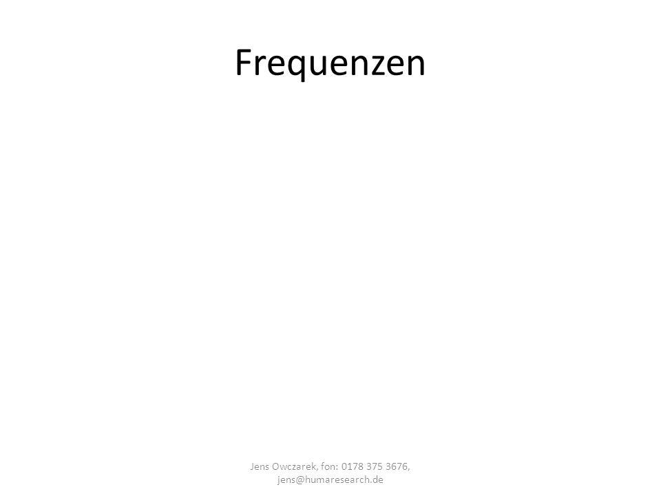 Frequenzen Jens Owczarek, fon: 0178 375 3676, jens@humaresearch.de