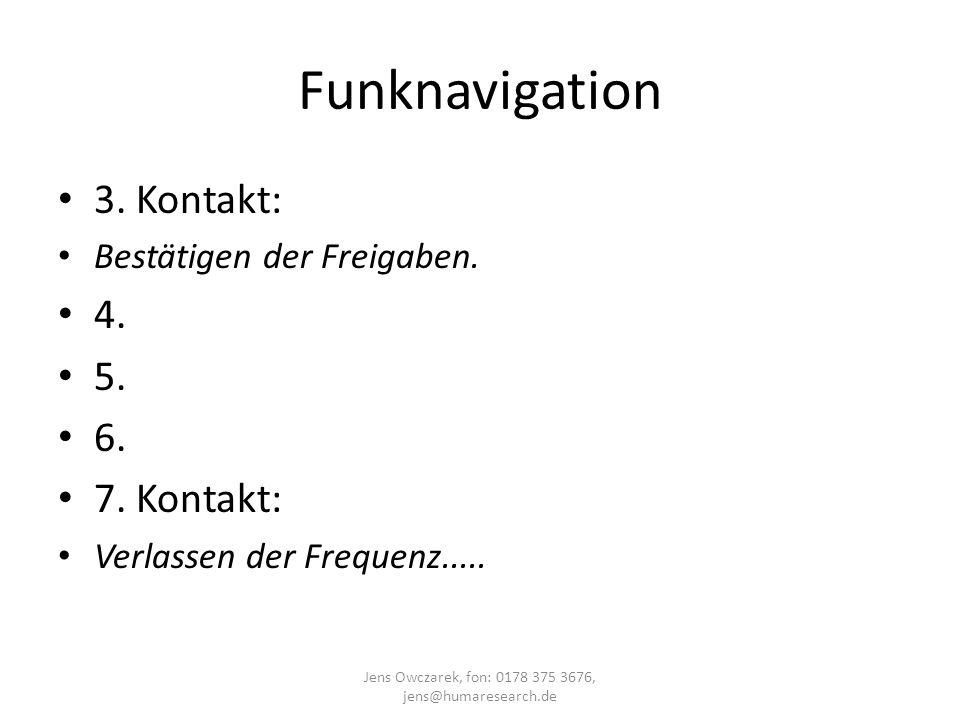 Funknavigation 3. Kontakt: Bestätigen der Freigaben. 4. 5. 6. 7. Kontakt: Verlassen der Frequenz..... Jens Owczarek, fon: 0178 375 3676, jens@humarese