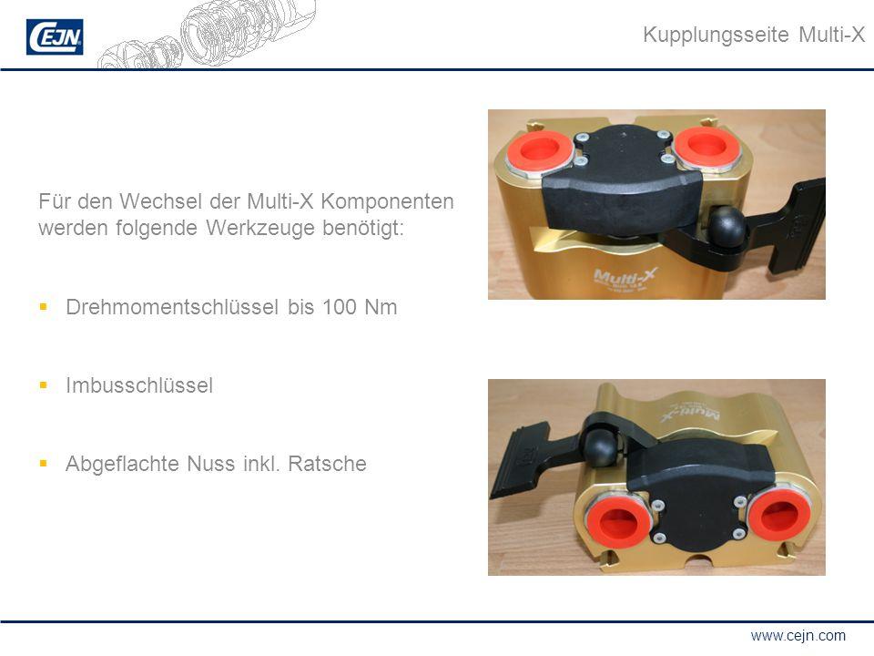 www.cejn.com Kupplungsseite Multi-X Für den Wechsel der Multi-X Komponenten werden folgende Werkzeuge benötigt:  Drehmomentschlüssel bis 100 Nm  Imb