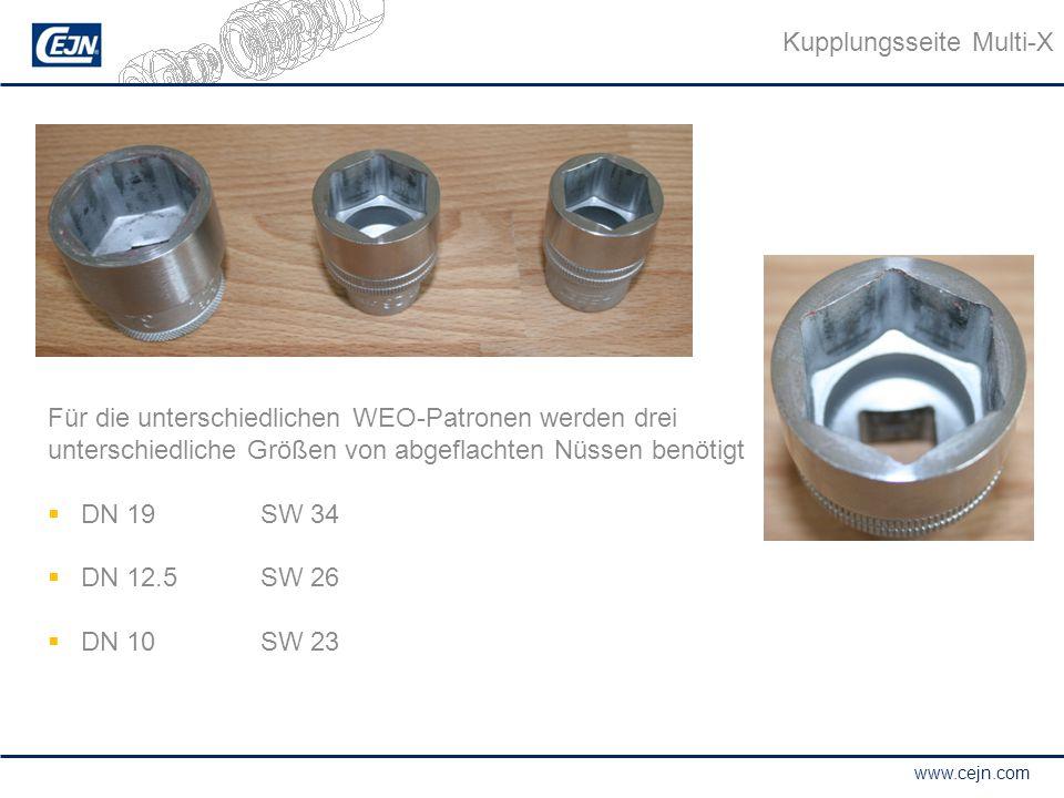 www.cejn.com Für die unterschiedlichen WEO-Patronen werden drei unterschiedliche Größen von abgeflachten Nüssen benötigt  DN 19SW 34  DN 12.5SW 26 