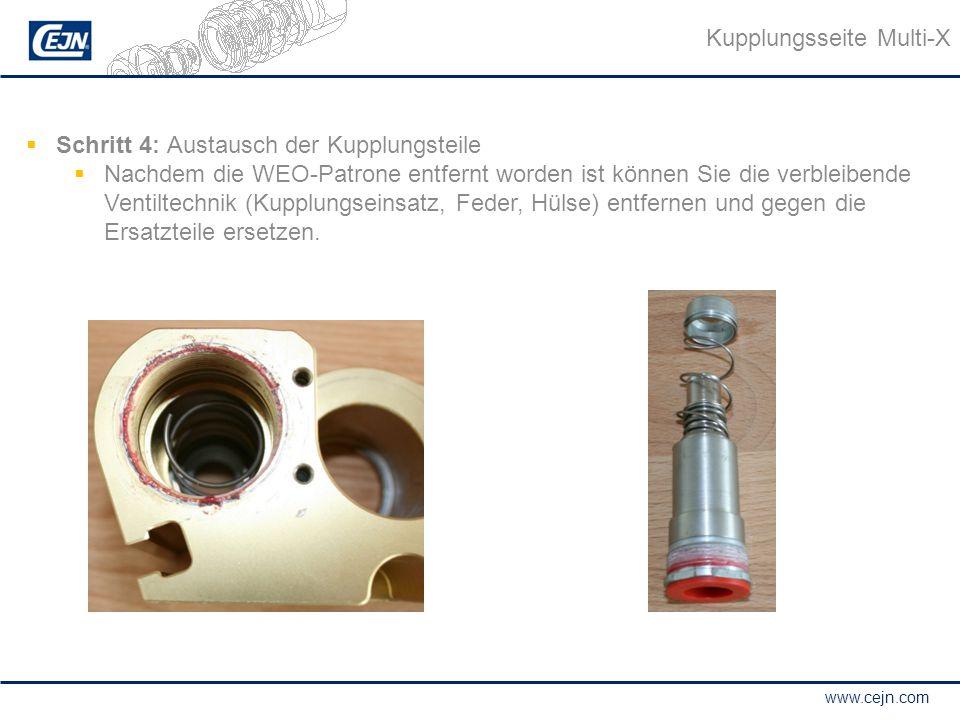 www.cejn.com  Schritt 4: Austausch der Kupplungsteile  Nachdem die WEO-Patrone entfernt worden ist können Sie die verbleibende Ventiltechnik (Kupplu
