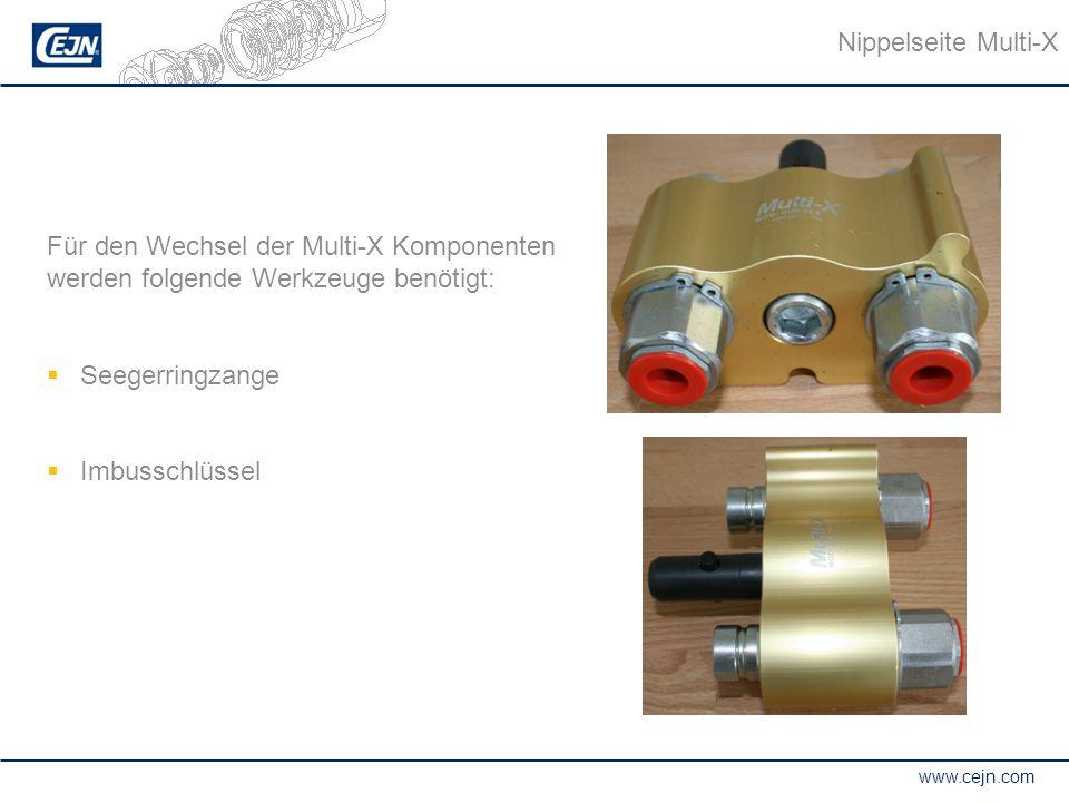 www.cejn.com Für den Wechsel der Multi-X Komponenten werden folgende Werkzeuge benötigt:  Seegerringzange  Imbusschlüssel Nippelseite Multi-X