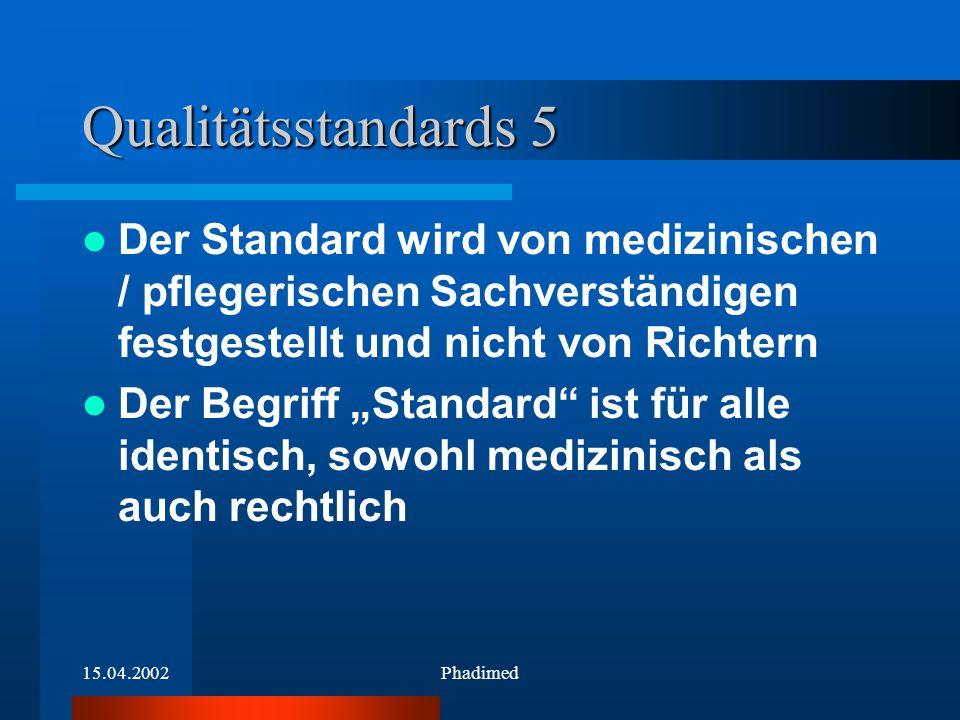 15.04.2002Phadimed Qualitätsstandards 5 Der Standard wird von medizinischen / pflegerischen Sachverständigen festgestellt und nicht von Richtern Der B