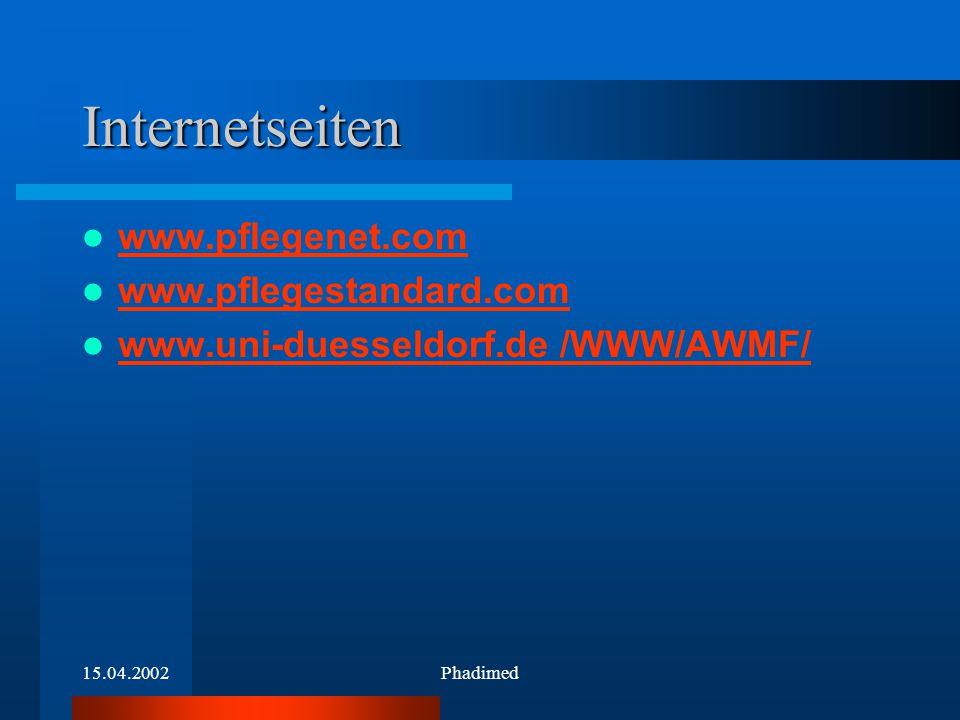 15.04.2002Phadimed Internetseiten www.pflegenet.com.pflegenet.com www.pflegestandard.com www.uni-duesseldorf.de /WWW/AWMF/ www.uni-duesseldorf.de
