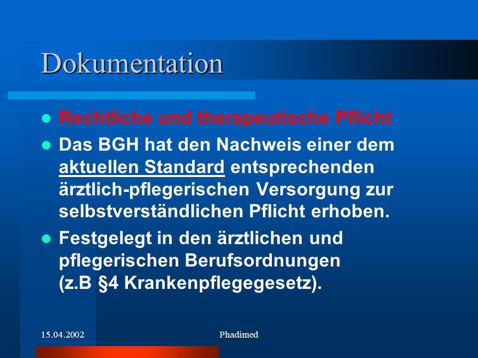 15.04.2002Phadimed Dokumentation Rechtliche und therapeutische Pflicht Das BGH hat den Nachweis einer dem aktuellen Standard entsprechenden ärztlich-p