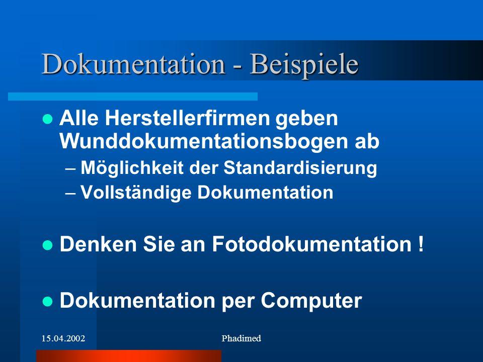 15.04.2002Phadimed Dokumentation - Beispiele Alle Herstellerfirmen geben Wunddokumentationsbogen ab –Möglichkeit der Standardisierung –Vollständige Do