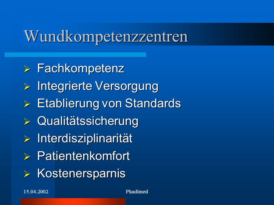 15.04.2002Phadimed  Fachkompetenz  Integrierte Versorgung  Etablierung von Standards  Qualitätssicherung  Interdisziplinarität  Patientenkomfort