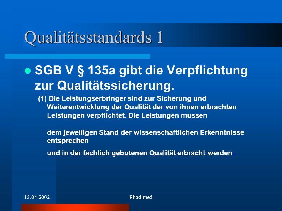 15.04.2002Phadimed Qualitätsstandards 1 SGB V § 135a gibt die Verpflichtung zur Qualitätssicherung. (1) Die Leistungserbringer sind zur Sicherung und