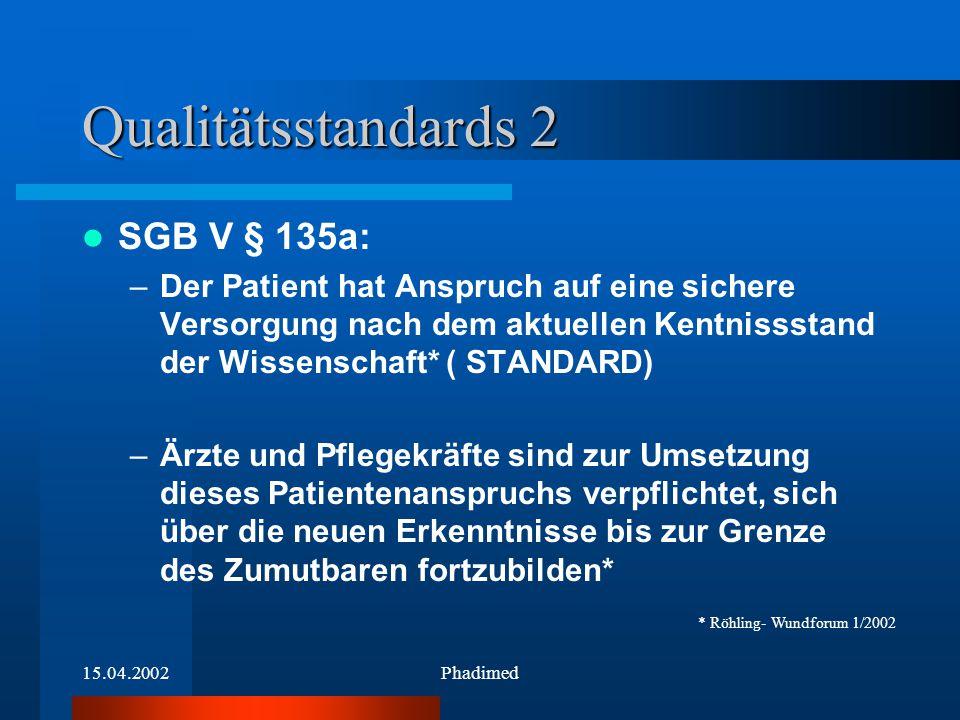 15.04.2002Phadimed Qualitätsstandards 2 SGB V § 135a: –Der Patient hat Anspruch auf eine sichere Versorgung nach dem aktuellen Kentnissstand der Wisse